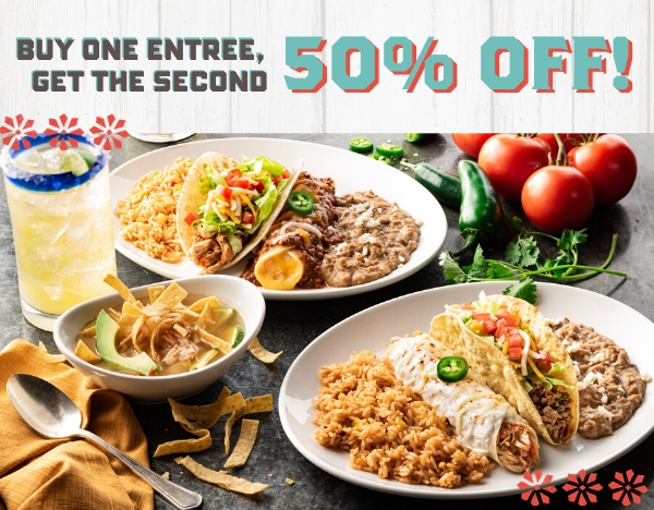 Buy one entree, get a second entree 50% off.